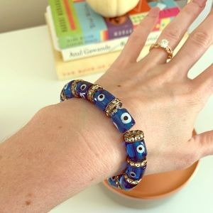 Jewelry - Vintage Glass Bead Evil Eye Bracelet 🧿